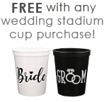 Free Bride & Groom Staidum Cup with Wedding Staidum Cups Purchase